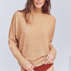 UO Out From Under Amelia Striped Mock Neck Top